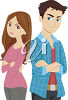 An illustration of a man and woman looking angry clipart