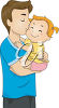 An illustration of a man with a baby girl clipart
