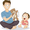 An illustration of a man holding a teddy bear while playing with his son clipart