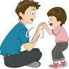 An illustration of a young man playing with a little boy clipart