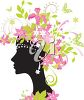 A silhouetted woman in profile with flowers and butterflies clipart