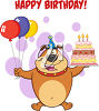 A cartoon of a bear holding a birthday cake and balloons clipart