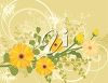 A gold background with yellow daisies clipart