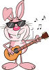 Rabbit playing guitar clipart