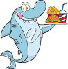 A shark with fast food clipart