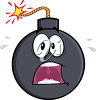A frightened bomb with a lit fuse clipart