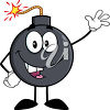 A bomb with a lit fuse clipart