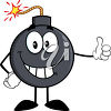 A bomb with a lit fuse giving thumbs up clipart