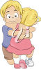 A girl and boy hugging clipart
