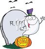 A halloween illustration with a ghost and tombsone clipart