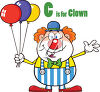 A clown holding balloons clipart