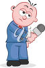 A man with a microphone clipart