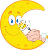 A baby on a crescent moon clipart