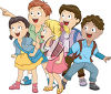 A group of children standing and smiling clipart