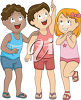 Three children standing and smiling clipart