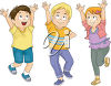 Three children with their arms raised and smiling clipart