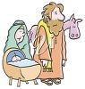 Mary and joseph with baby jesus in front of a donkey clipart