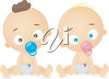 Two Babies with Soothers clipart