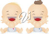 Clipart Illustration of Two Babies Laughing clipart