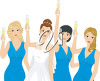 A bridal party toasting clipart