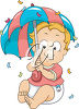 A baby with an umbrella clipart