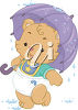 A baby bear in the rain clipart