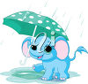 An elephant in the rain clipart