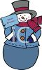 A snowman and sign clipart