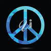 A peace symbol on a black background clipart