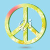 A peace symbol on a blue background clipart