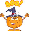 A halloween jack-o-lantern saying boo clipart
