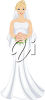 A bride with a bouquet clipart