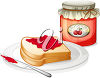 A jar of fruit jam and bread on a plate clipart