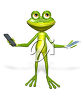 A 3D frog and cellphone clipart