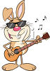 A guitar playing rabbit clipart