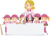 Baseball players holding a banner clipart