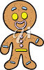 A smiling gingerbread man clipart