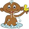 A baby in the bath clipart