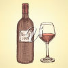 A wine bottle and glass clipart