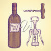 A wine bottle and corkscrews clipart