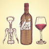 A wine bottle, corkscrew and glass clipart