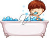 A child bathing clipart