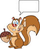 A squirrel with an acorn clipart