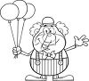 A clown with balloons clipart