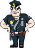 A policeman with his hands on his hips clipart