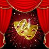 Two gold masks and a red curtain clipart