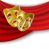 Two gold masks on a red curtain clipart