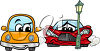 Two cars at a streetlight clipart