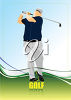 A man on a golfing background clipart