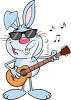 A rabbit with a guitar clipart